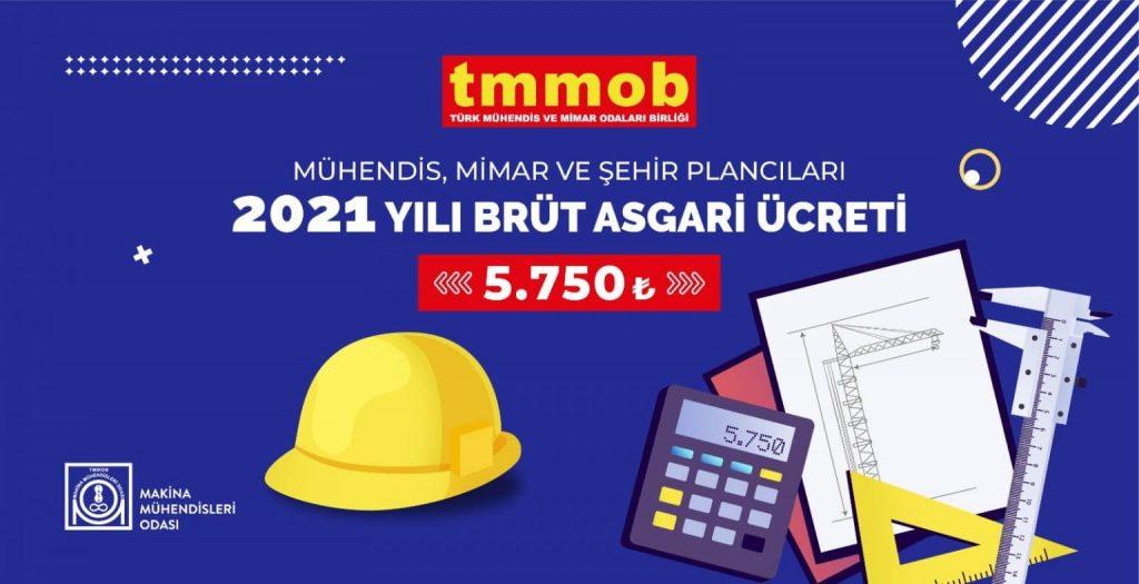 MMOB 2021 yılı için brüt mühendis asgari ücretini 5750 TL olarak belirledi.